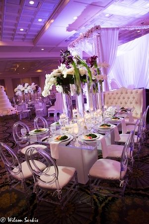 Interior of a wedding tent decoration ready for guests